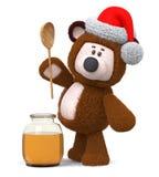 orso dell'illustrazione 3d con il barattolo del miele Fotografie Stock