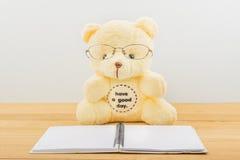 Orso dell'orsacchiotto che legge un libro Fotografia Stock