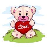 Orso dell'orsacchiotto che tiene un cuore Fotografia Stock