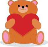 Orso dell'orsacchiotto con cuore Fotografia Stock Libera da Diritti