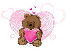Orso dell'orsacchiotto con cuore illustrazione di stock