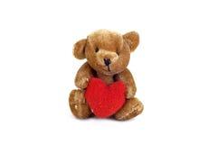Orso dell'orsacchiotto con cuore Fotografie Stock Libere da Diritti
