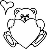 Orso dell'orsacchiotto con cuore Immagini Stock Libere da Diritti