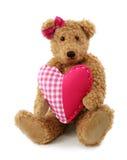 Orso dell'orsacchiotto con cuore rosso Fotografia Stock Libera da Diritti