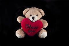 Orso dell'orsacchiotto con cuore rosso Fotografia Stock