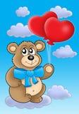 Orso dell'orsacchiotto con gli aerostati del cuore su cielo blu illustrazione vettoriale