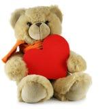 Orso dell'orsacchiotto con grande cuore rosso Immagini Stock Libere da Diritti