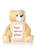 Orso dell'orsacchiotto con il blocco per grafici della foto Fotografie Stock