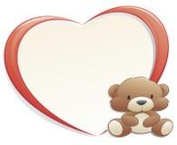 Orso dell'orsacchiotto con il blocco per grafici Heart-shaped Fotografia Stock