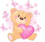 Orso dell'orsacchiotto con il cuore di amore Fotografie Stock Libere da Diritti
