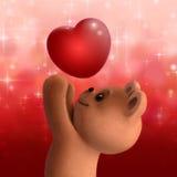 Orso dell'orsacchiotto con il cuore di amore Fotografie Stock