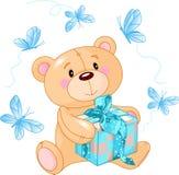 Orso dell'orsacchiotto con il regalo blu Fotografie Stock