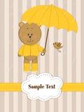 Orso dell'orsacchiotto con l'ombrello Fotografia Stock