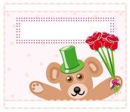 Orso dell'orsacchiotto con le rose Immagini Stock Libere da Diritti