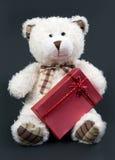 Orso dell'orsacchiotto con un contenitore di regalo rosso Fotografia Stock Libera da Diritti