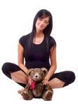 Orso dell'orsacchiotto della holding della donna Immagini Stock