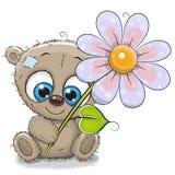 Orso della cartolina d'auguri con il fiore royalty illustrazione gratis