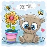 Orso della cartolina d'auguri con il fiore illustrazione vettoriale