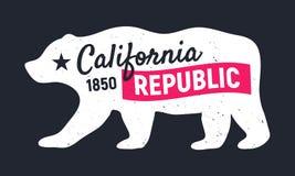 Orso della Repubblica di California Manifesto d'annata d'avanguardia Stampa per la maglietta, tipografia Illustrazione di vettore royalty illustrazione gratis