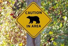 Orso di cautela nel segno di area Immagine Stock