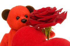 Orso di orsacchiotto dei biglietti di S. Valentino Fotografie Stock Libere da Diritti