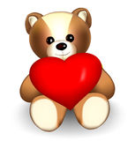 Orso di orsacchiotto del biglietto di S. Valentino Immagini Stock Libere da Diritti