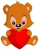 Orso di orsacchiotto del biglietto di S. Valentino Fotografie Stock