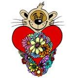 Orso di orsacchiotto del biglietto di S. Valentino Fotografia Stock