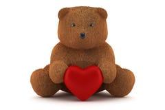 Orso di orsacchiotto del biglietto di S. Valentino che giudica un cuore isolato Immagini Stock Libere da Diritti