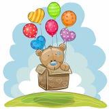 Orso di orsacchiotto sveglio con gli aerostati illustrazione di stock