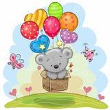 Orso di orsacchiotto sveglio con gli aerostati royalty illustrazione gratis