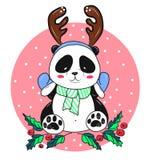 Orso di panda di Natale con i corni Fotografia Stock Libera da Diritti