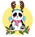 Orso di panda di Natale con i corni Immagini Stock Libere da Diritti