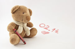 Orso di Valentine Teddy Fotografia Stock