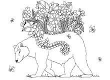 Orso di Zen Tangle dell'illustrazione di vettore con i fiori royalty illustrazione gratis