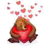 Orso e cuore Fotografia Stock