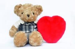 Orso e cuore dell'orsacchiotto Fotografie Stock Libere da Diritti