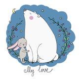 Orso e lepre adorabili del fumetto Animali felici illustrazione di stock
