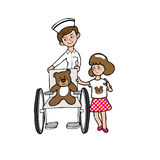 Orso e ragazza della sedia a rotelle dell'infermiere Fotografie Stock Libere da Diritti