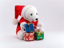 Orso e regali di Natale della Santa Fotografie Stock