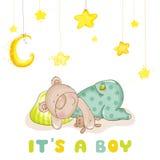 Orso e stelle del bambino di sonno Fotografie Stock Libere da Diritti