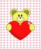 Orso giallo con cuore Immagine Stock Libera da Diritti