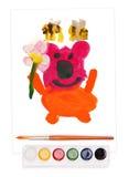 Orso, insieme dell'acquerello e spazzola dipinti Fotografia Stock