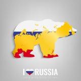 Orso nazionale di simbolo della Russia con una siluetta ufficiale della mappa e della bandiera Federazione Russa Vettore Fotografia Stock Libera da Diritti