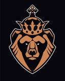 Orso nell'icona di vettore della mascotte della corona illustrazione di stock