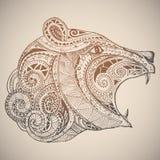 Orso in ornamento tribale orientale Fotografia Stock Libera da Diritti