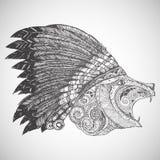 Orso in ornamento tribale orientale Immagini Stock Libere da Diritti