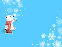 Orso polare con la sciarpa ed i fiocchi di neve rossi su fondo blu Concetto di Natale royalty illustrazione gratis