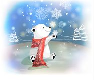 Orso polare con la sciarpa ed i fiocchi di neve rossi su fondo blu Concetto di Natale Fotografia Stock