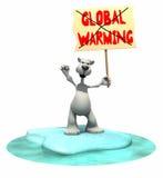 Orso polare del fumetto che tiene il segno di riscaldamento globale Fotografia Stock Libera da Diritti